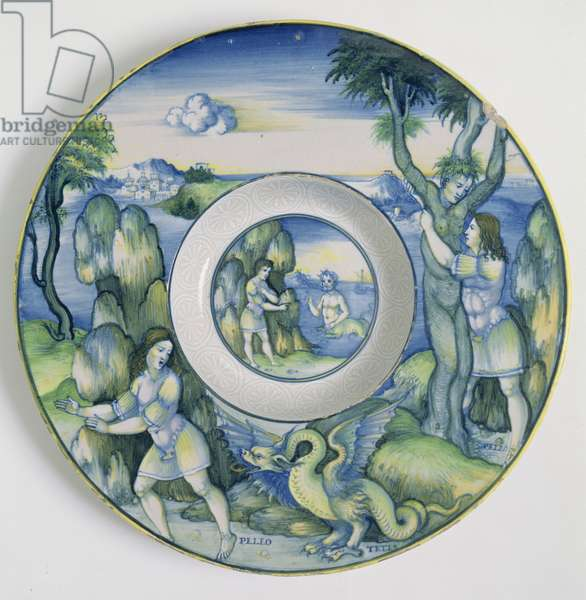 Maiolica plate, showing the story of Peleus, by Nicola Pellipario of Urbino (fl.1510-42) from the collection of Carlo Ridolphi, 1518-20