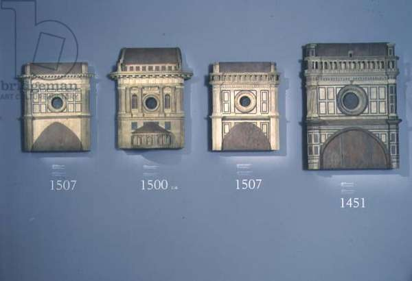 Four modello's of the facade of the Duomo showing the designs between 1451 and 1507 (wood)