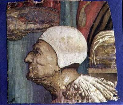 Fragment of a Tapestry Showing a Portrait of the Doge Loredan (textile)