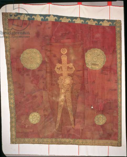 Turkish flag decorated with a gold embroidered double-bladed sword on a red background, 15th century (silk)