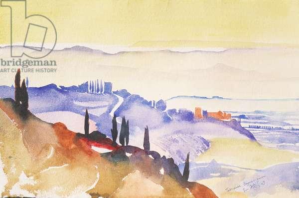 Bagno Vignoni, Italy, 2003 (watercolour)