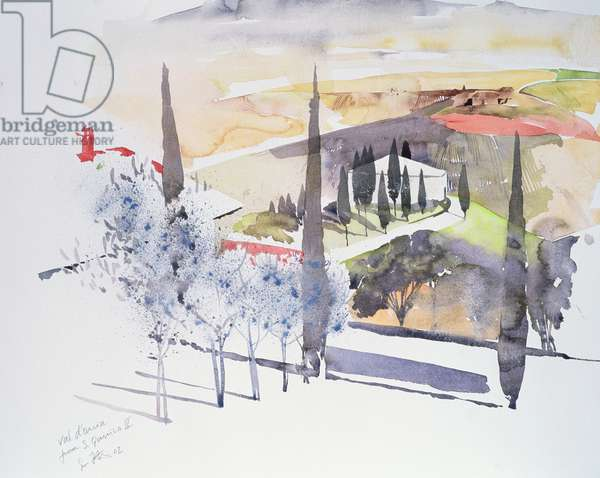 Val d'Orcia from San Quirico II, 2002 (w/c on paper)