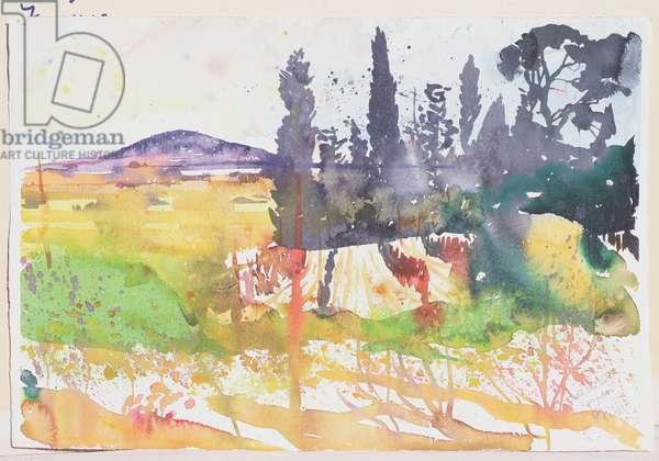 Sete, vu de Loupian, 2004 (w/c on paper)