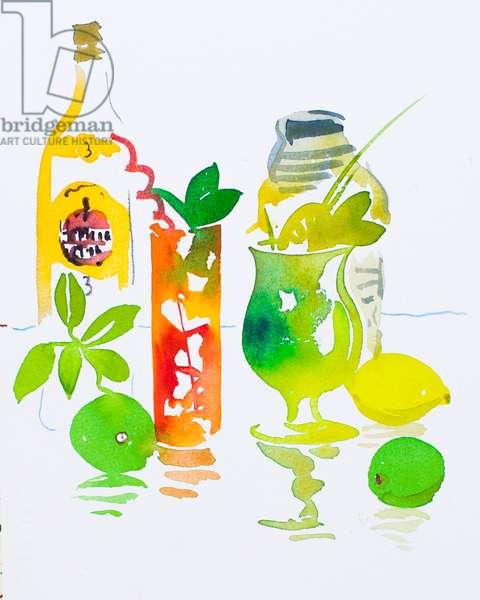 Mojito & Cuba Libre, 2016, (watercolour)