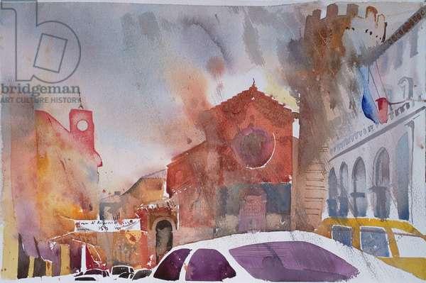 Orvieto Piazza, Italy 2002 (watercolour)
