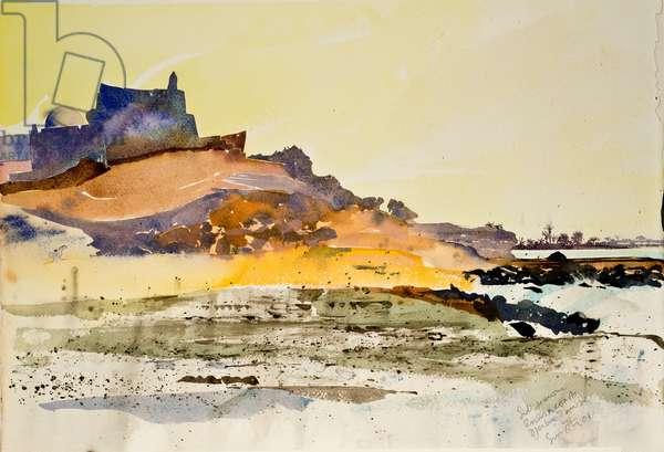 Sidi Jemour, rocks and coast,Djerba Tunisia, 2000, watercolour