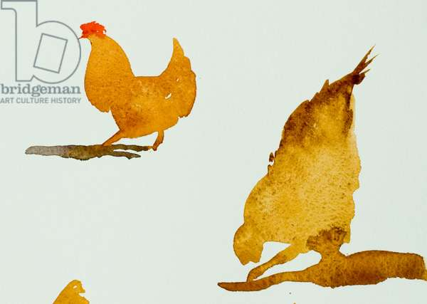 chickens, one scratching 2013, (watercolour)