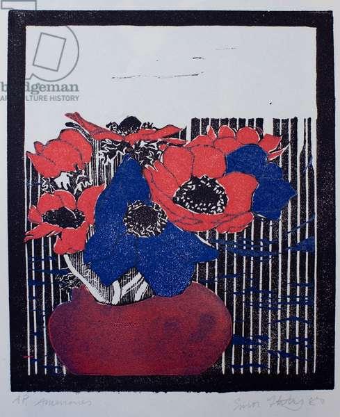 Anemones (colour linocut)