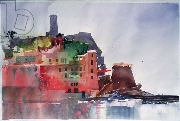 Fernazza, Eight Boats, 2002 (w/c on paper)