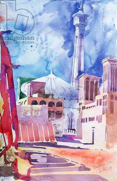 Bastakia, Dubai, 2004 (w/c on paper)