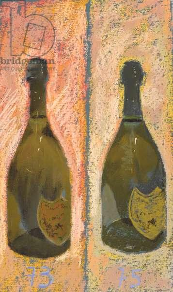 Champagne Moet Dom Perignon, pastel on paper 38x28