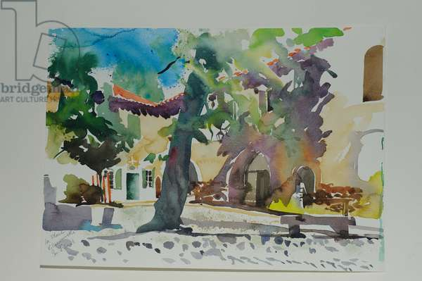 La Place, Villeneuvette, 2009 (w/c on paper)