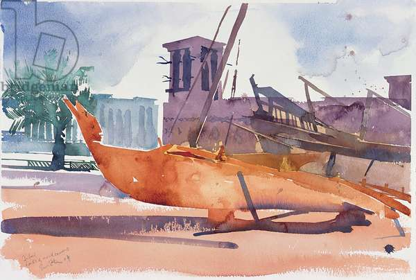 Dubai, Boats and Wind Towers, 2004 (w/c on paper)