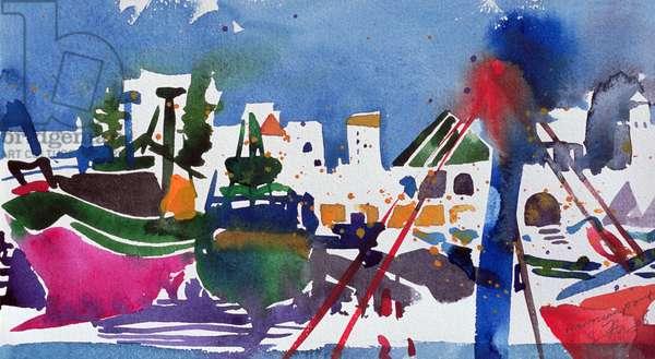 Moroccan Port (w/c on paper) 25x38
