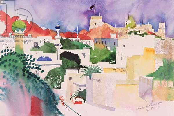 Muscat Fort and Mosques, 2004 (watercolour on paper)