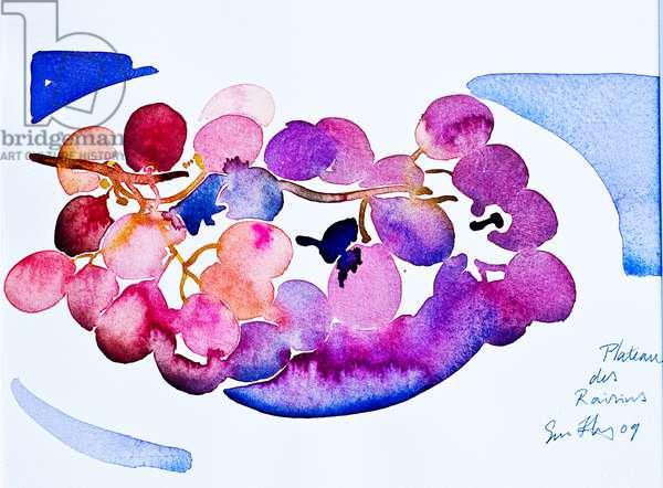 plateau de raisins, 2009, watercolour
