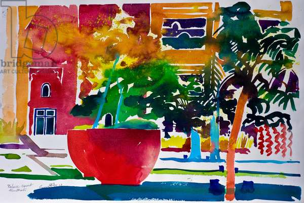 Palace Court, Abu Dhabi, 2012 (watercolour on paper)