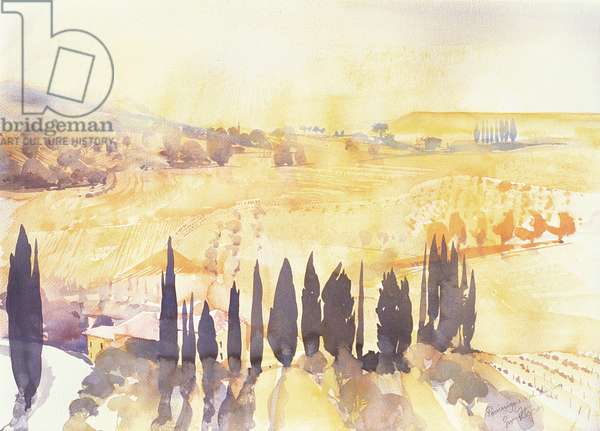 Afternoon in Val d'Orcia, 2003 (w/c on paper)