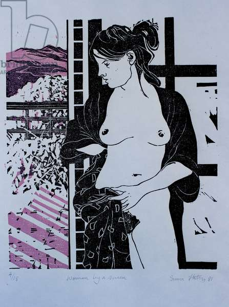 Woman by a screen, (colour woodcut)
