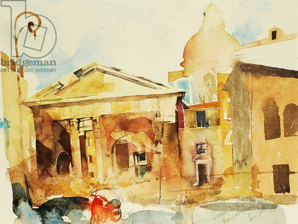 Scooter in Rome, 2005. (watercolour)