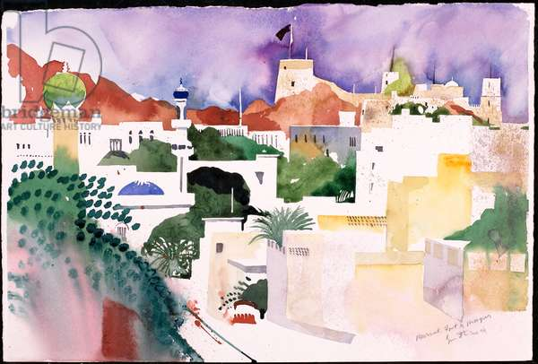 Muscat Fort and Mosques (w/c on paper)