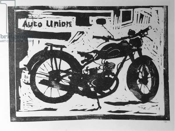 Auto Union, linocut 2017