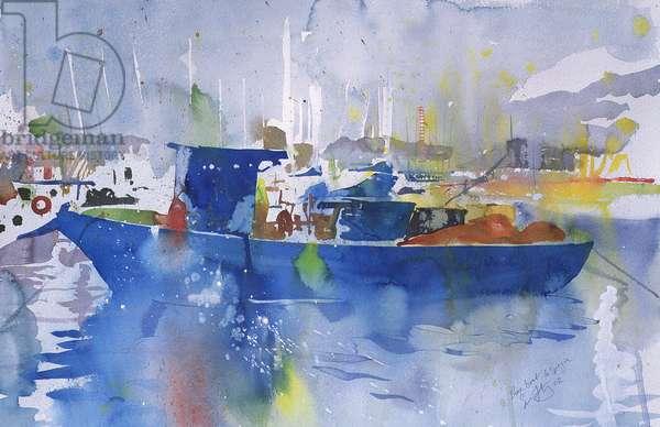 Blue Boat La spezia, Italy, 2002 (watercolour)