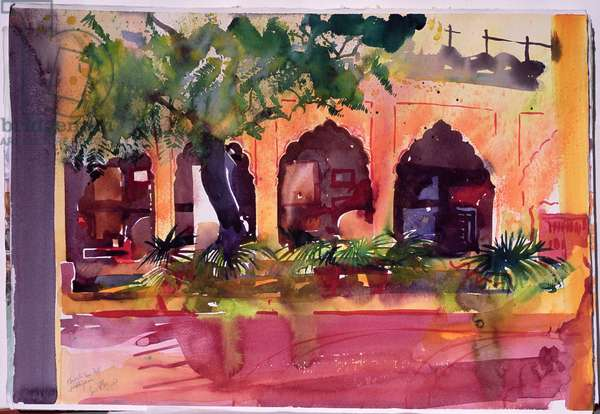 Haveli Inn Pal Jodphur, 2007 (w/c on paper)