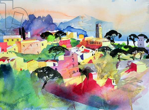 Ravello and the Bay of Salerno, 2003 (w/c on paper)
