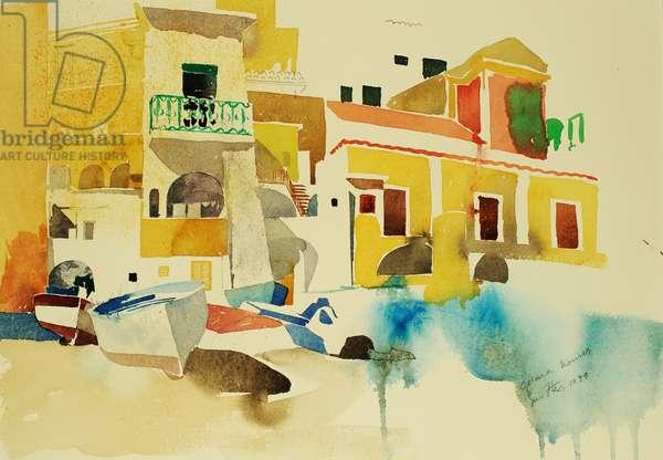Cetara houses, 1999 (watercolour)
