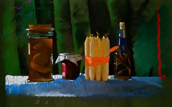 Christmas, figs in brandy, 2000 (pastel)