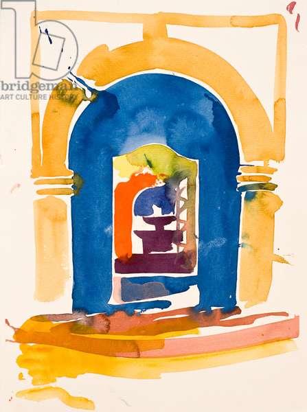 Gate and Fountain, 2016, (watercolour)