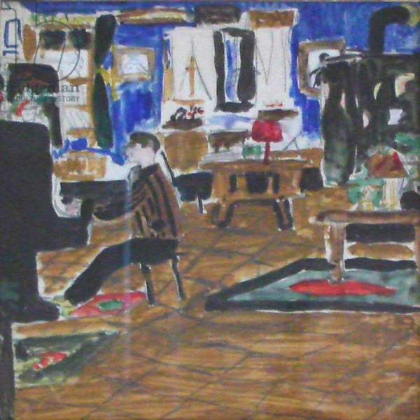 Igor Stravinsky playing the piano in his workroom in Villa Rogivue, Morges, Switerzland, watercolour and pencil, 23,5 x 24 cm, 1915