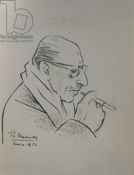 Portrait of the artist's father, Igor Stravinsky, pencil, 50 x 42,5 cm, 1956