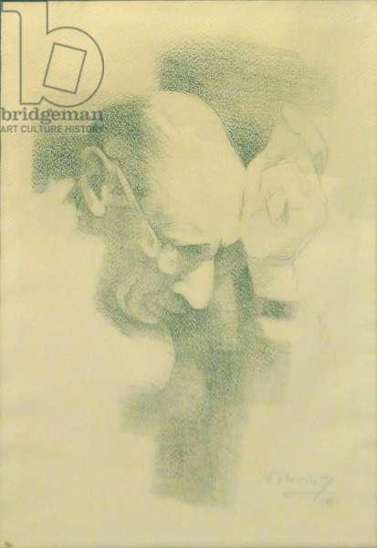 Portrait of the artist's father, Igor Stravinsky, pencil, 43 x 30 cm, 1961
