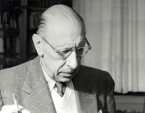 Igor Stravinsky in his son Théodore's flat in Geneva, 1952