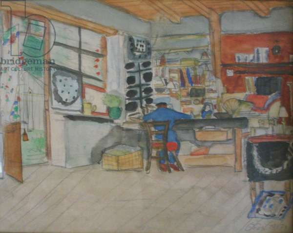Igor Stravinsky composing Les Noces in the workshop of Chalet Les Fougères, in  Diablerets, Switzerland, watercolour and pencil, 26 x 34 cm, 1917