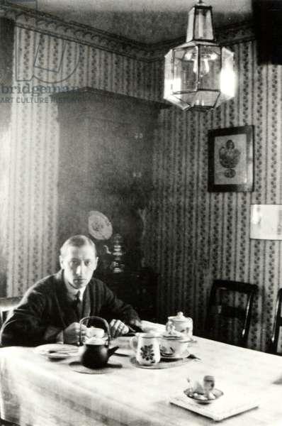Igor Stravinsky in 1915 at villa 'La Pervenche', Clarens, near Montreux