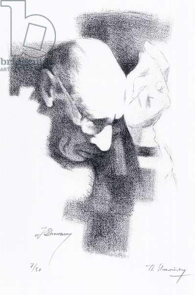 Igor Stravinsky - lithograph portrait by Theodore Stravinsky - Russian composer - 17 June 1882 - 6 April 1971