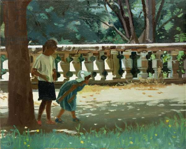 Playing Boule, 1988 (oil on board)