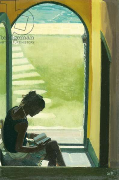 Reading at the bottom of the stairs, 2007 (oil on board)