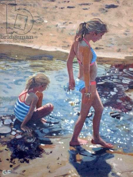 Cornish Holiday: Paddling, Flora & Olivia, 2014 (oil on canvas)
