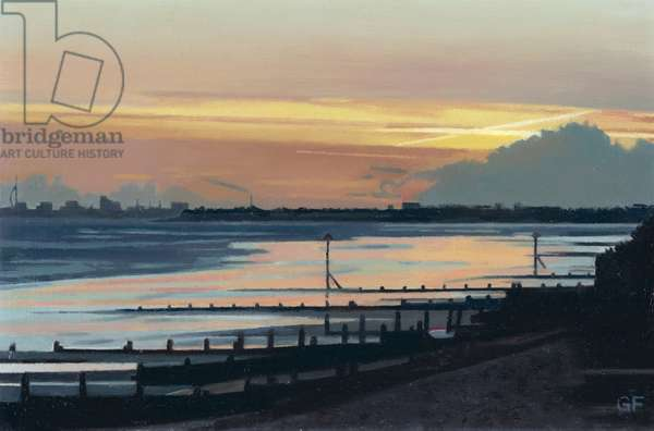 Sunset West Wittering (oil on board)