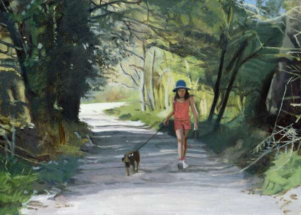 Walking the Dog, (oil on board)