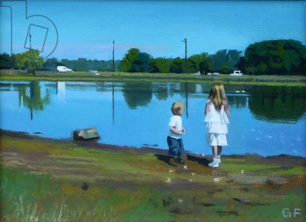 Rushmere Pond, Wimbledon Common: Ralph & Poppy, 2014 (oil on canvas)