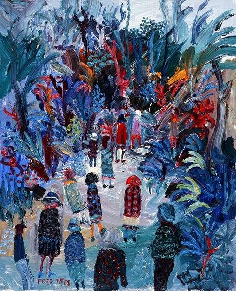 Public garden (oil on canvas)