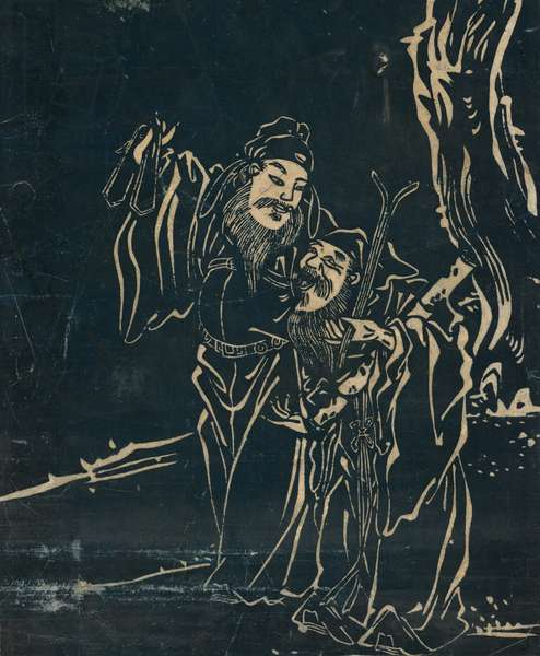 The Taoist immortals Zhang Guo Lao and Cao Guojiu (ink rubbing on paper)