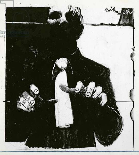 Illustration for 'Nursing a Blind Patient' an article in 'Nursing Times', published 30th October 1975 (ink on acetate)