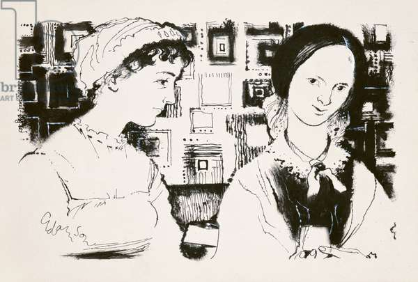Jane Austen (1775-1817) and Charlotte Bronte (1816-55) - an imaginary encounter (indian ink on board)
