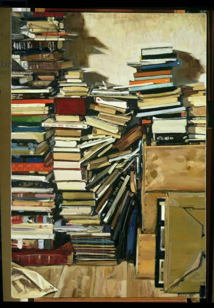 Five Stacks of Books with One Fallen, 1994 (oil on canvas)
